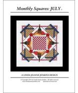 Monthly Squares July cross stitch card chart Li... - $6.00