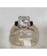 Antique Style Round Cut CZ Wedding Ring Set Ste... - $49.99