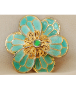 VINTAGE Aqua Enamel and Goldtone Floral Brooch - $10.00