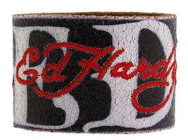 Ed Hardy Black Leather Bracelet Embroidered RED Letters Logo