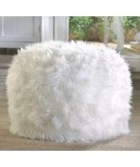 White Fuzzy Ottoman Pouf Footstool - $44.00