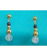 Avon Garnet Bead Earrings Goldtone - $5.00