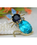 Vintage Cat Brooch Pin Turquoise Blue Rhineston... - $22.95