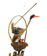 Bamboo/Coconut Wind chime - Bird with Nest and ... - $24.00