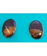 Vintage Purple & Gold Handmade Ceramic Earrings - $6.00
