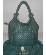 LOCKHEART PURSE TEAL GREEN LAMBSKIN LEATHER BRIE BASKETWEAVE HOBO TOTE NWT $625