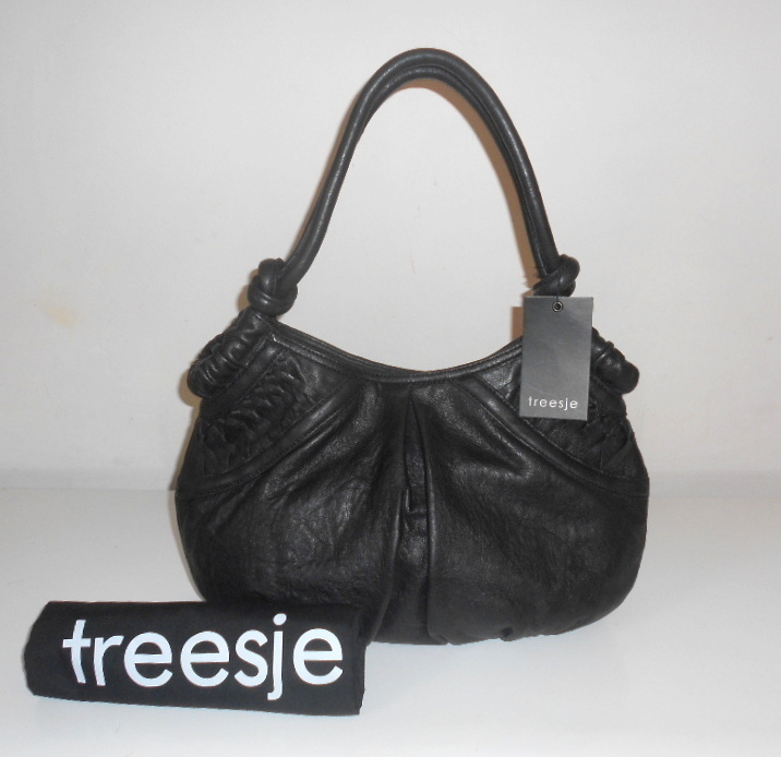 TREESJE HANDBAG BLACK ITALIAN LEATHER VICEROY LATTICE SHOULDER TOTE BAG NWT $398