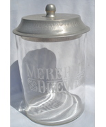 old Meredith Brew etched glass jar with tin lid - $50.00