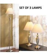 3 Piece Set Floor Lamp And 2 Desk Table Lights - $89.00