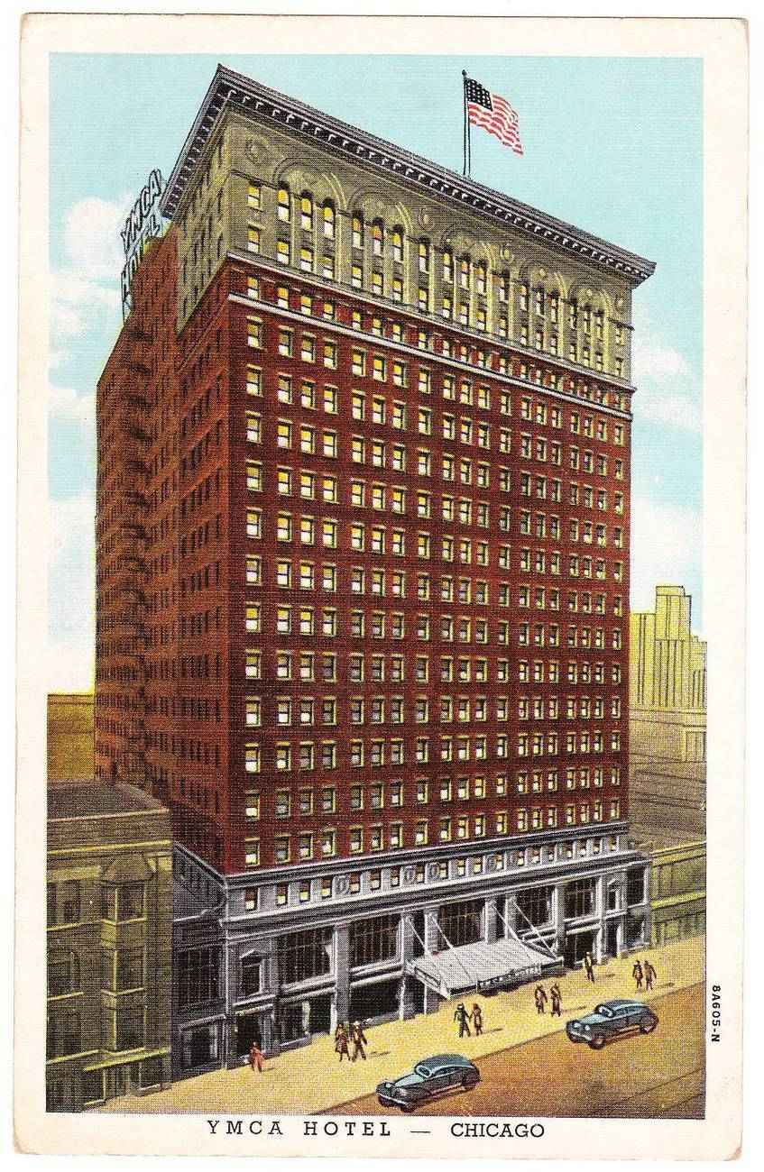 Vintage postcard ymca hotel chicago illinois il illinois for Hotels in chicago under 100