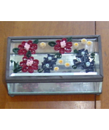 Jewelry Box- Handcrafted Flowers, Glass and Pap... - $39.95