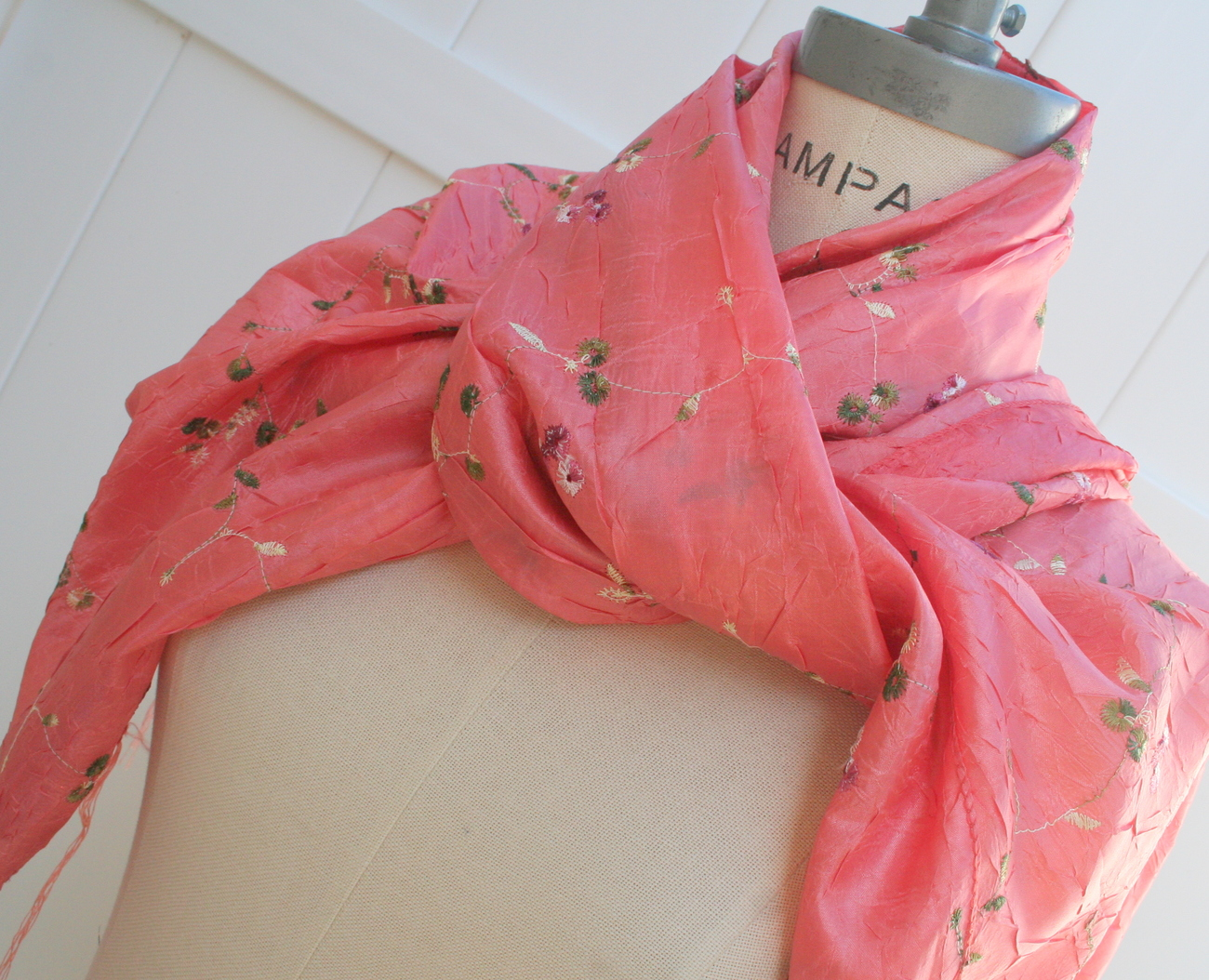 Coral Silk Scarf Free Shipping Women Shawl Cowl Embroidered Silk Scarf
