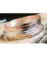 Handmade set of 7 skinny stack rings 14K gold f... - $79.00