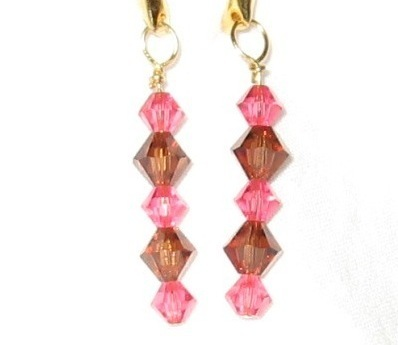 Swarovski crystal indian pink and smoked topaz Earrings