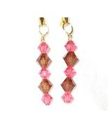 Swarovski crystal indian pink and smoked topaz ... - $12.00