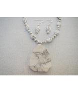 Howlite White Gray Gemstone Pendant Necklace Ea... - $43.50