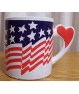 Red White and Blue Flag Heart Coffee Mug or Cup... - $9.89