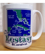 Ecstasy Carnival Map of Atlantic Ocean Blue Gre... - $9.89