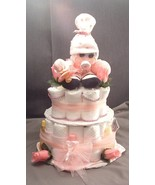 Pink Sock BABY Shower Gift Diaper Cake Centerpiece - $48.00
