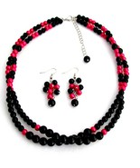 Twisted Double Strand Necklace Magenta And Blac... - $17.93