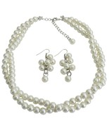 Ivory Pearl Twisted Necklace With Matching Grap... - $17.36