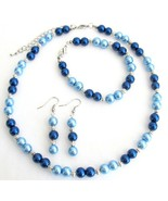 Lite Blue Dark Blue Pearl Jewelry Set With Silv... - $14.68