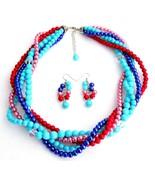 Summer Beach Multi Color Pearls Five Strand Bra... - $34.83