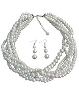 White Five Strand Braided Twisted Necklace With... - $33.46
