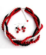 Braided Twisted Chunky Wedding Jewelry Set Red ... - $27.71