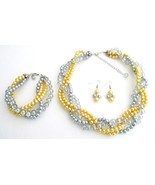 Luxurious Braid Four Strand Yellow Gray Pearls ... - $35.76