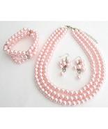 Best Bridal Jewelry Pink Pearls Three Strands N... - $30.28