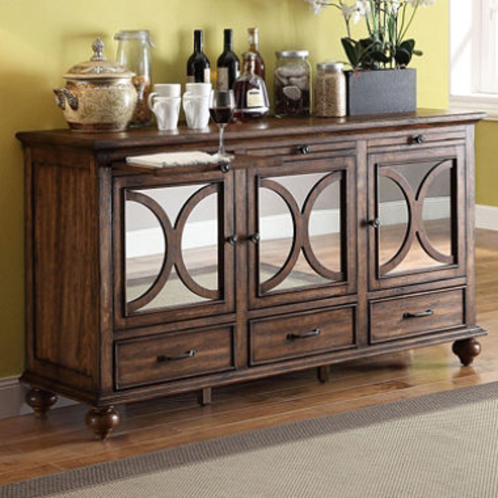 isabelle mirrored storage console living room furniture organizing