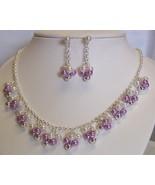 Bead Cluster Silvertone Necklace Set Pierced - $8.00