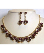 Bead Cluster Goldtone Necklace set Pierced - $4.50
