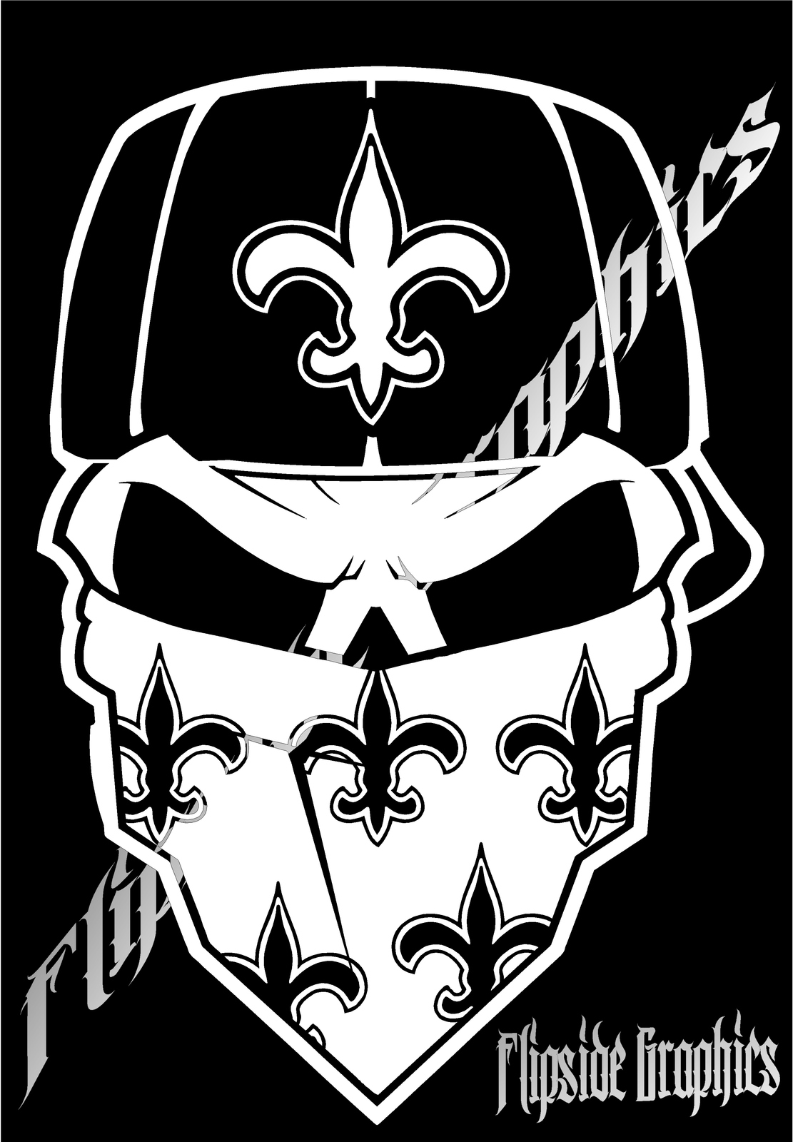 decal skull bandana custom new orleans saints