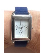 GENEVA Silver Toned Multi-Band Watch Navy Ribbo... - $13.50