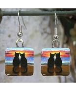 Handmade Glass Earrings square 20mm black Cat 3... - $12.00