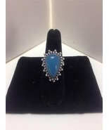 CHALCEDONY Silver Plate Teardrop Ladies Ring Sz... - $9.79