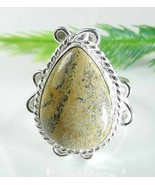 PICTURE JASPER Teardrop Silver Plate Ladies Rin... - $12.73