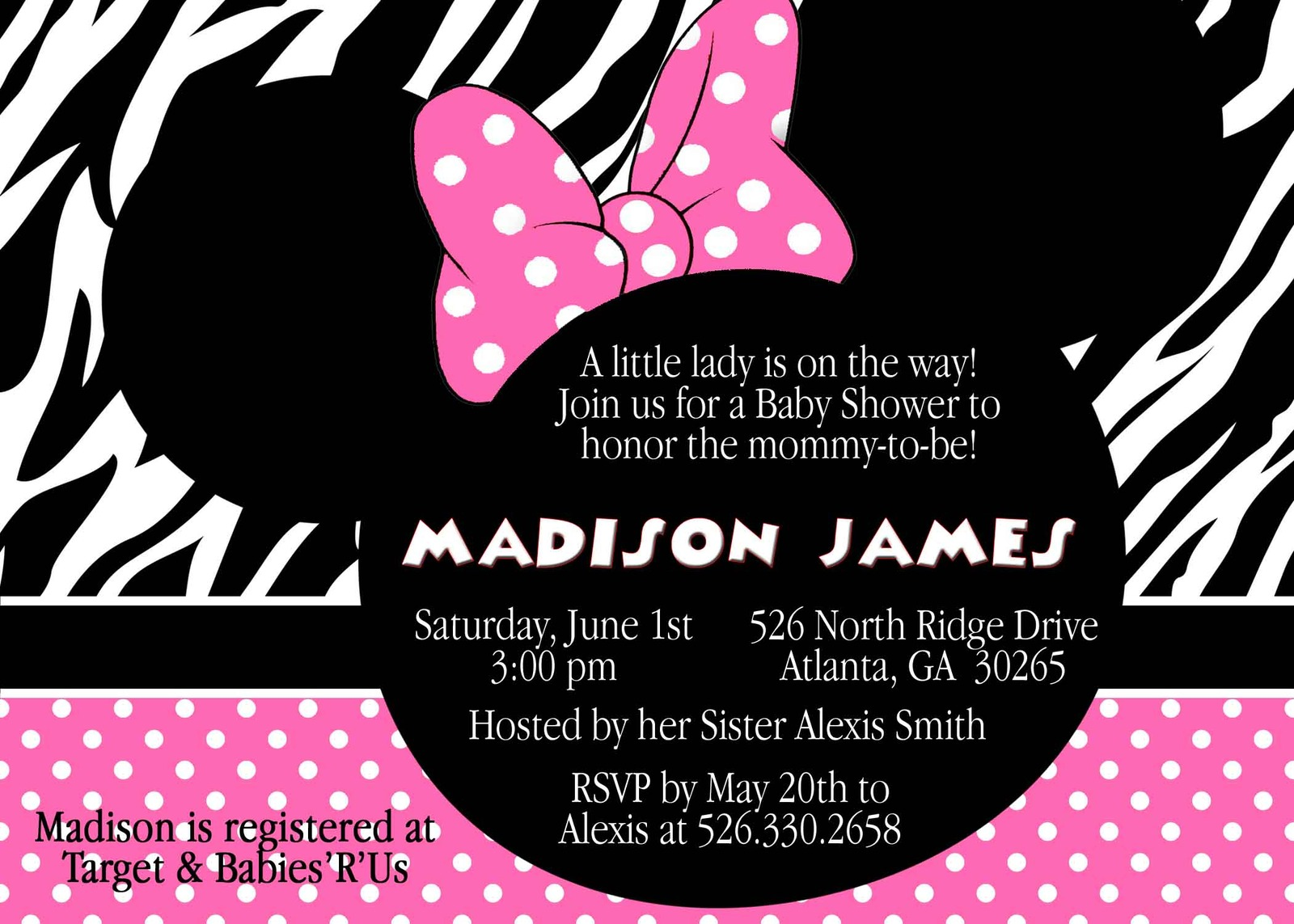 pink zebra minnie mouse baby shower invitation custom personalized