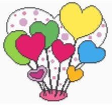 Heart Balloons Color Graph Afghan Pattern - $3.75