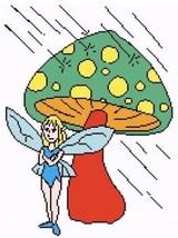 Rainy Day Mushroom Fairy Color Graph Afghan Pat... - $4.00