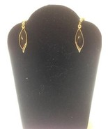 Black Enamel Gold Toned Leaf Post Earrings 30 x... - $4.89