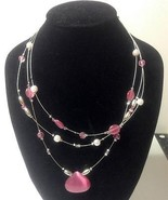 Pink Cat's Eye Star Sapphire Pearl Crystal Neck... - $10.77