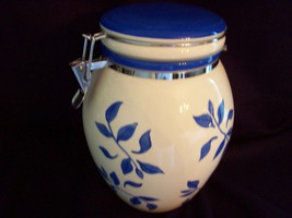 Hand Painted White and Blue Large Ginger Jar - $5.93
