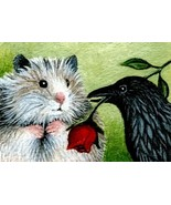 ACEO art print Hamster 3 crow raven LE by L. Dumas - $4.99