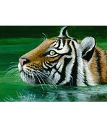 4x6 Art print Tiger in water OSWOA by L.Dumas - $7.99