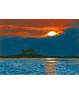 ACEO art print Sea View #30 sunset by L. Dumas - $4.99