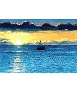 ACEO art print Sea View #35 sunset by L. Dumas - $4.99