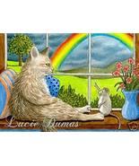 ACEO art print Cat #344 mouse rainbow by L.Dumas - $4.99